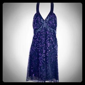Charlotte Russe Black & Purple Swirl Halter Dress